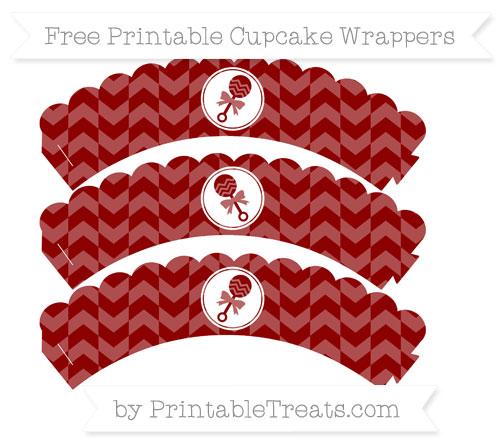 Free Dark Red Herringbone Pattern Baby Rattle Scalloped Cupcake Wrappers
