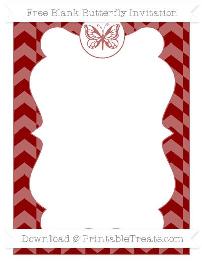 Free Dark Red Herringbone Pattern Blank Butterfly Invitation