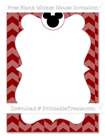 Free Dark Red Herringbone Pattern Blank Mickey Mouse Invitation