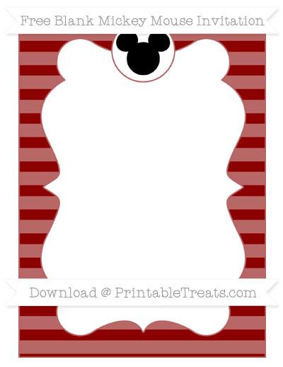 Free Dark Red Horizontal Striped Blank Mickey Mouse Invitation