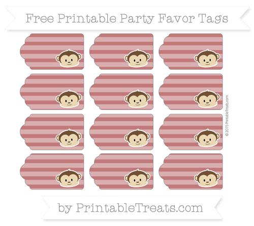 Free Dark Red Horizontal Striped Boy Monkey Party Favor Tags