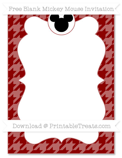 Free Dark Red Houndstooth Pattern Blank Mickey Mouse Invitation