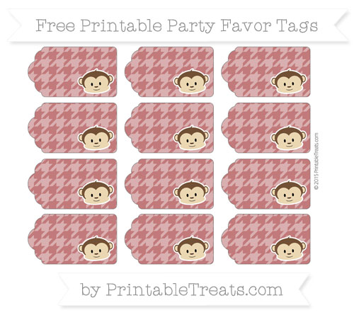 Free Dark Red Houndstooth Pattern Boy Monkey Party Favor Tags