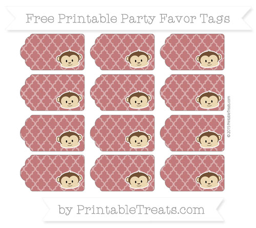Free Dark Red Moroccan Tile Boy Monkey Party Favor Tags