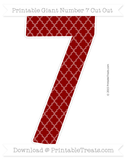 Free Dark Red Moroccan Tile Giant Number 7 Cut Out