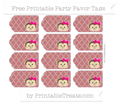 Free Dark Red Moroccan Tile Girl Monkey Party Favor Tags