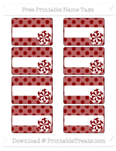 Free Dark Red Polka Dot Cheer Pom Pom Tags
