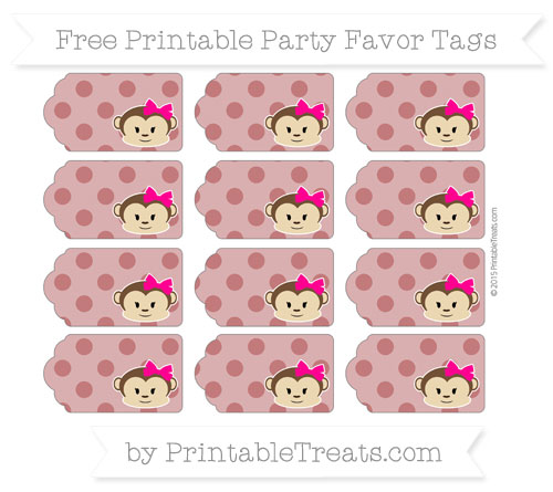 Free Dark Red Polka Dot Girl Monkey Party Favor Tags