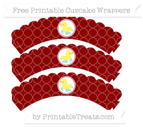 Free Dark Red Quatrefoil Pattern Baby Duck Scalloped Cupcake Wrappers