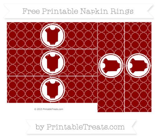 Free Dark Red Quatrefoil Pattern Baby Onesie Napkin Rings