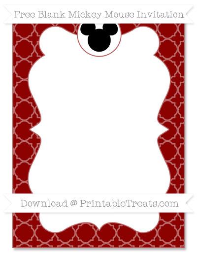 Free Dark Red Quatrefoil Pattern Blank Mickey Mouse Invitation