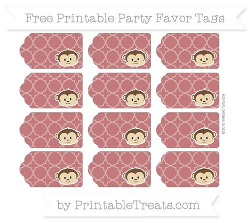 Free Dark Red Quatrefoil Pattern Boy Monkey Party Favor Tags