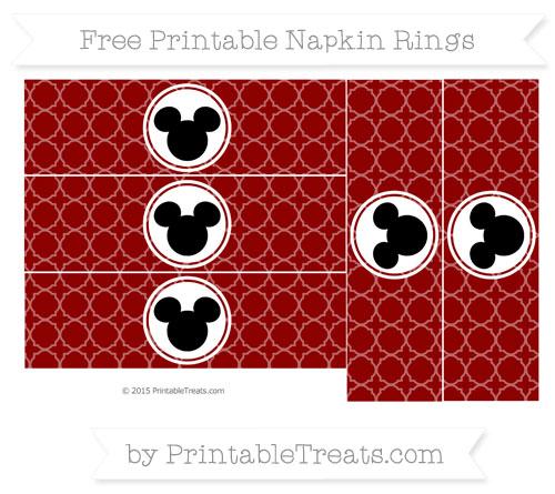 Free Dark Red Quatrefoil Pattern Mickey Mouse Napkin Rings