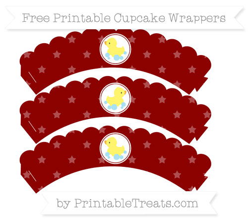Free Dark Red Star Pattern Baby Duck Scalloped Cupcake Wrappers