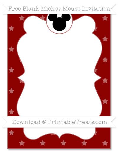 Free Dark Red Star Pattern Blank Mickey Mouse Invitation