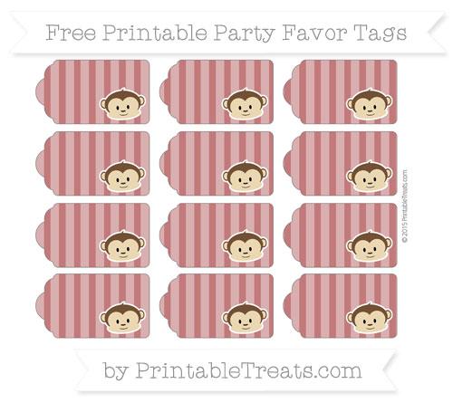 Free Dark Red Striped Boy Monkey Party Favor Tags