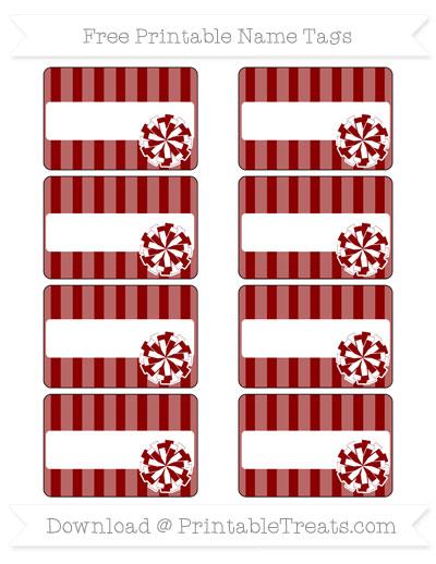 Free Dark Red Striped Cheer Pom Pom Tags