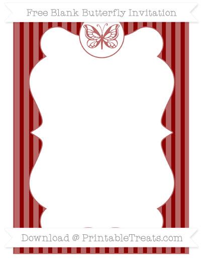 Free Dark Red Thin Striped Pattern Blank Butterfly Invitation
