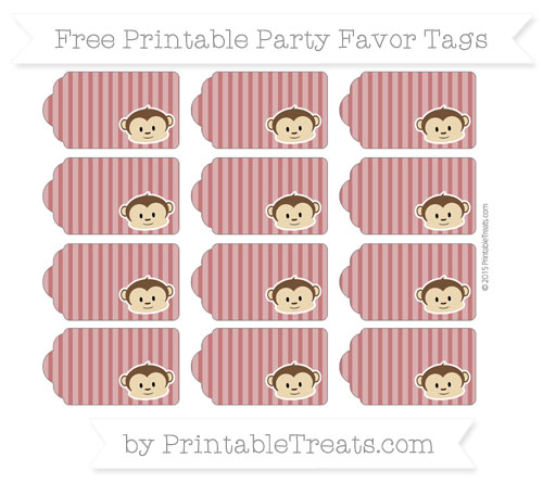Free Dark Red Thin Striped Pattern Boy Monkey Party Favor Tags