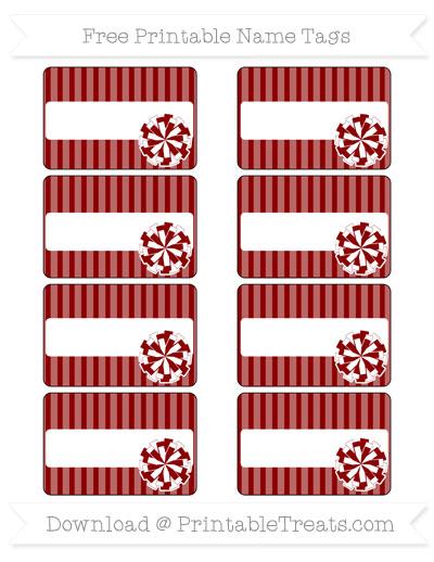 Free Dark Red Thin Striped Pattern Cheer Pom Pom Tags