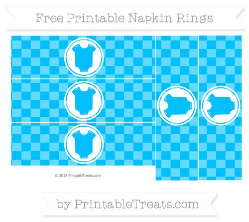 Free Deep Sky Blue Checker Pattern Baby Onesie Napkin Rings