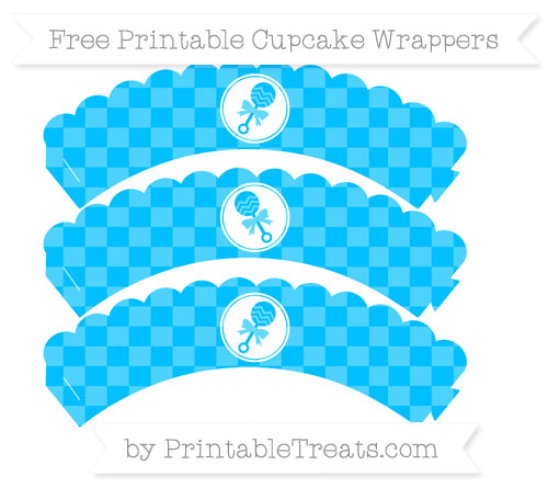 Free Deep Sky Blue Checker Pattern Baby Rattle Scalloped Cupcake Wrappers