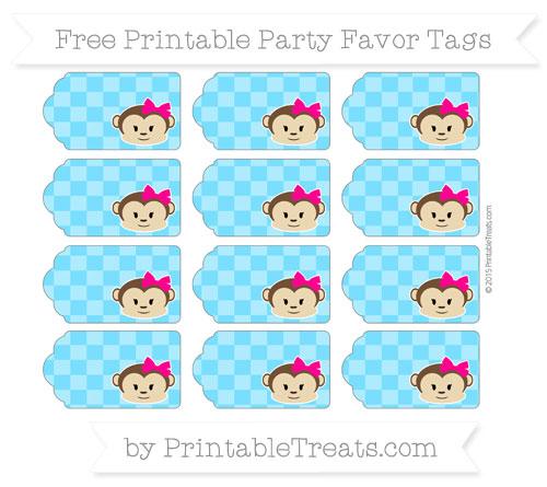 Free Deep Sky Blue Checker Pattern Girl Monkey Party Favor Tags