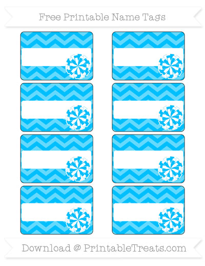 Free Deep Sky Blue Chevron Cheer Pom Pom Tags