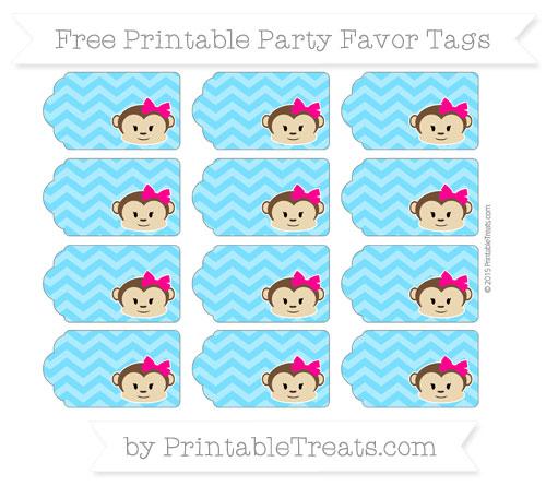 Free Deep Sky Blue Chevron Girl Monkey Party Favor Tags