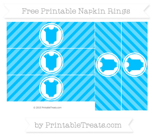 Free Deep Sky Blue Diagonal Striped Baby Onesie Napkin Rings