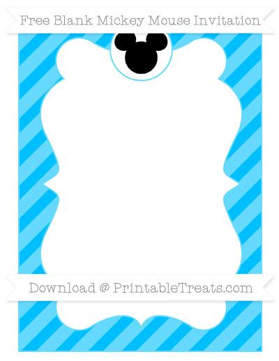 Free Deep Sky Blue Diagonal Striped Blank Mickey Mouse Invitation