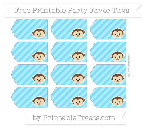 Free Deep Sky Blue Diagonal Striped Boy Monkey Party Favor Tags