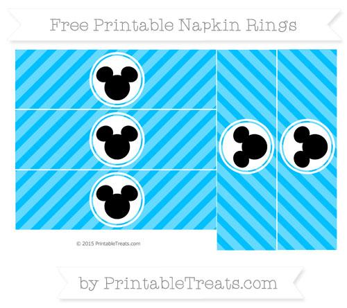 Free Deep Sky Blue Diagonal Striped Mickey Mouse Napkin Rings
