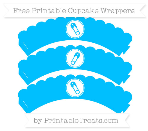 Free Deep Sky Blue Diaper Pin Scalloped Cupcake Wrappers