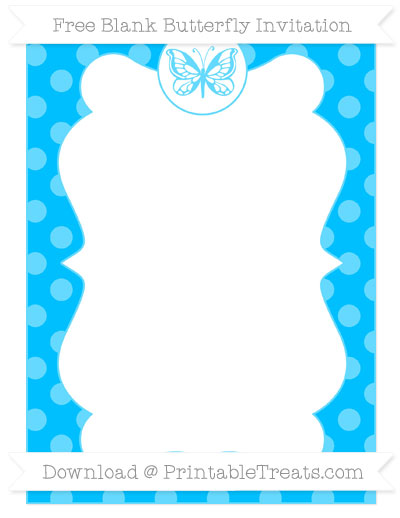 Free Deep Sky Blue Dotted Pattern Blank Butterfly Invitation