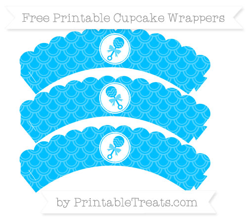 Free Deep Sky Blue Fish Scale Pattern Baby Rattle Scalloped Cupcake Wrappers