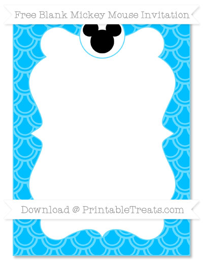 Free Deep Sky Blue Fish Scale Pattern Blank Mickey Mouse Invitation