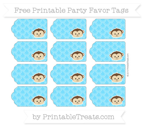 Free Deep Sky Blue Fish Scale Pattern Boy Monkey Party Favor Tags