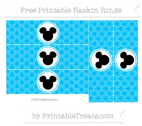 Free Deep Sky Blue Fish Scale Pattern Mickey Mouse Napkin Rings