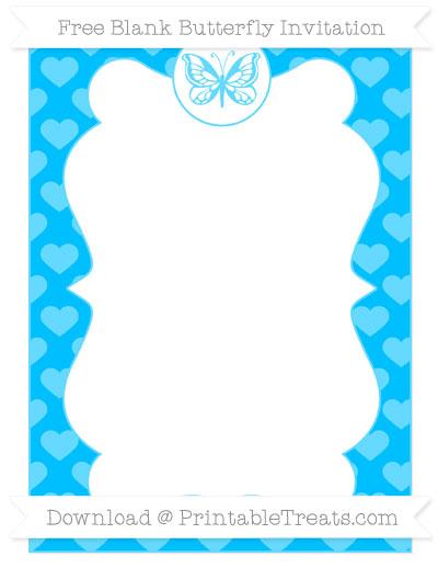 Free Deep Sky Blue Heart Pattern Blank Butterfly Invitation