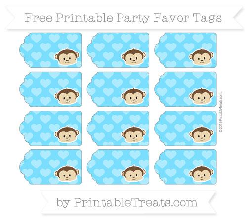 Free Deep Sky Blue Heart Pattern Boy Monkey Party Favor Tags