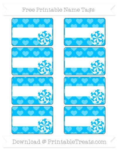 Free Deep Sky Blue Heart Pattern Cheer Pom Pom Tags