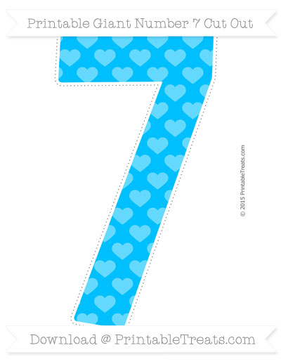 Free Deep Sky Blue Heart Pattern Giant Number 7 Cut Out