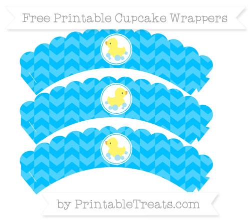Free Deep Sky Blue Herringbone Pattern Baby Duck Scalloped Cupcake Wrappers