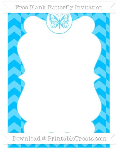 Free Deep Sky Blue Herringbone Pattern Blank Butterfly Invitation