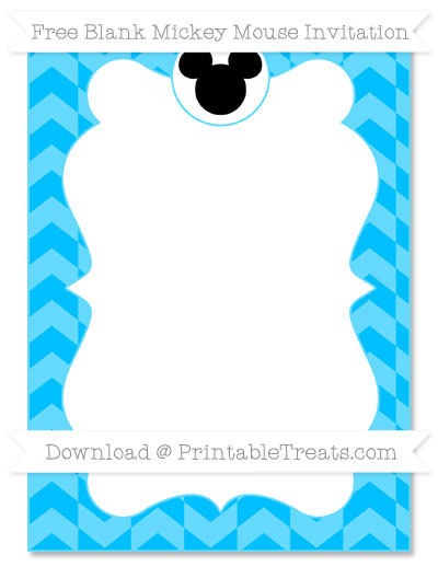Free Deep Sky Blue Herringbone Pattern Blank Mickey Mouse Invitation