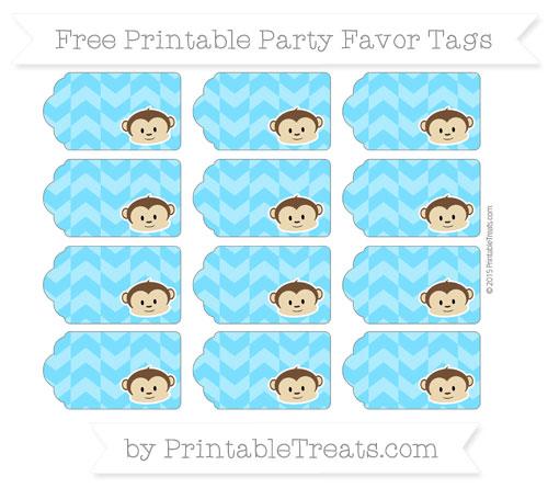 Free Deep Sky Blue Herringbone Pattern Boy Monkey Party Favor Tags