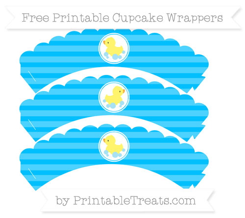 Free Deep Sky Blue Horizontal Striped Baby Duck Scalloped Cupcake Wrappers