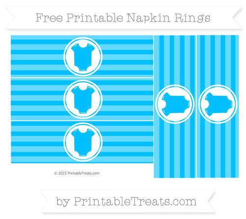 Free Deep Sky Blue Horizontal Striped Baby Onesie Napkin Rings