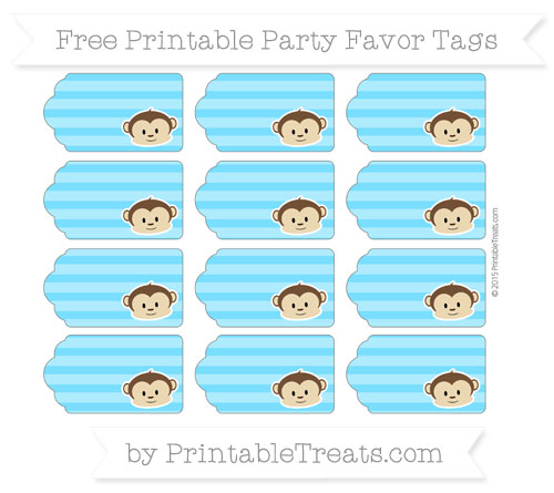 Free Deep Sky Blue Horizontal Striped Boy Monkey Party Favor Tags